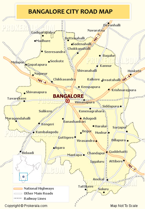 Above given is the detailed map of Bengaluru (Bangalore) City